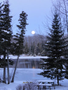 Full moon over Katchewanooka Lake in Winter